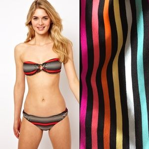 French Conn Retro Techno Stripe Bandeau Bikini Top
